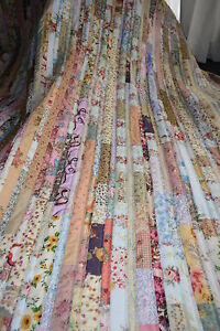 "Hand Made, Quilt ""SHABBY CHIC STRIPPY"" Design by Quilt-Addicts 78"" x 79"""