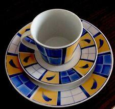 Domestic Kaffee-Service Porzellan 12Teile ( Sarah) Blau-Gelb-Weiß , 4 Personen
