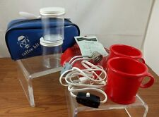VTG Blue Coffee Kit 2 Red Cups 2 Containers Spoon Bakelite Heater Camping Hotel