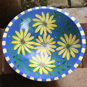 """Hand Painted 12"""" Wooden Bowl - Yellow Flowers & Green Leaves on Blue Background"""