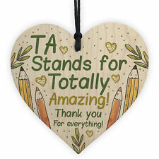 Thank You Gift For Teacher Teaching Assistant Wooden Heart Leaving School Gifts