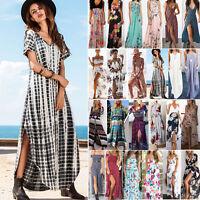 Women Boho Floral Maxi Long Skirt Dress Summer Beach Casual Party Sundress 6-20