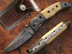 AishaTech Professional Damascus Folding Knife with White Bone Handle AT-1220