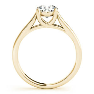1.00 Ct Moissanite Round Cut Yellow Gold Birthday Ring 14K Solitaire Girl ring