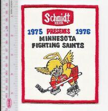 Beer Hockey WHA Minnesota Fighting Saints Schmidt Beer 1975 76 Season Promo Patc