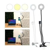 Selfie Flash Ring Light Mobile Phone Holder 24 LED Camera Long Arm USB Clip On