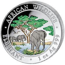 Very  Rare 2012 1 oz  Color  Silver Elephant Coin - 100 Shillings Somalia