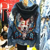 Women's heavy embroidered sequined denim jacket ladies loose Hole hooded coat