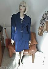 Thierry Mugler Kostüm Gr. 36 Gr. 38 blau tintenblau Strick Wolle silber Barren