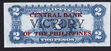 Philippines Treasury Certif 2 Pesos Victory Ovpt CB SN#F18765548 Fresh & Crisp