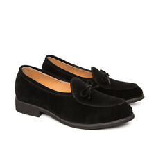 Mens Suede Leather Bowknot Business Loafers Dress Shoes Casual Slip On Fashion