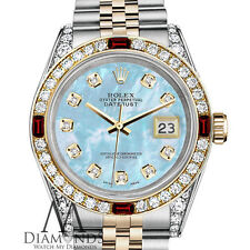 Ladies Rolex Steel & Gold 26mm Datejust Baby Blue MOP Dial Ruby Diamond Watch