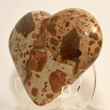 "3.2"" Leopardite JASPER Heart Polished ""Leopard Skin"" Crystal Palm Stone - PERU"