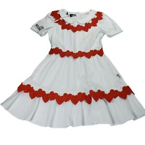 NWT Love Moschino Hearts Dress Size 4 US (XS) White Red Cotton Peter Pan Collar