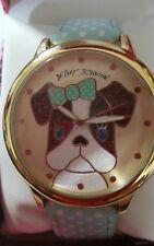 Betsey Johnson Women's Bj00280-43  Boxerdog Gold/blue polk a dot Strap Dog Watch