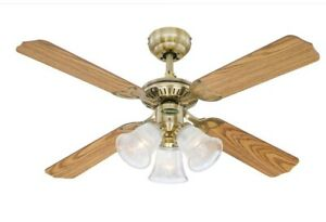"""Traditional Ceiling fan with lights Princess Trio Antique Brass 105 cm / 42"""""""