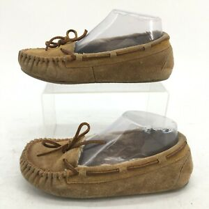 Minnetonka Moccasin Slippers Womens 6 Brown Suede Faux Fur Lined Slip On 4032