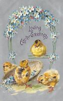 Easter~Newborn Chicks~Forget-Me-Nots Arch~Wicker Basket~Silver Back Emboss~TUCK