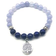 US SELLER Blue Chalcedony Lapis Lazuli Bracelet Tree of Life Charm Natural Stone
