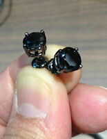 4Ct Round Black Diamond Solitaire Stud Earrings Screw Back 14K Black Gold Finish