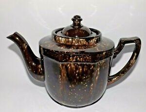 Antique Pottery Tea Pot ALB England Brown Speckled Glaze Octagonal 4 Cups