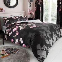 Roseanne Floral Set Housse de couette double noir roses fleurs - 2 en 1 Design
