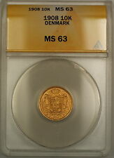 1908 Denmark 10K Kroner Gold Coin ANACS MS-63