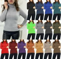 Women's Ladies High Polo Roll Neck Long Sleeve Ribbed Knitted Jumper Sweater Top