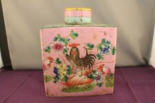 Antique Rectangular Chinese Porcelain Famille Rose Tea Caddy and Cover