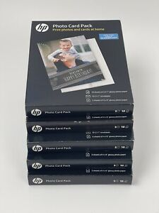 5 × NEW HP Glossy Photo Paper Card Kit 10 Sheets of 5x7 With Envelopes - SF791A