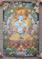 "36""Tibetan Buddhism Silk Cloth thangka Tara Guanyin KuanYin Buddha Statue Tangka"