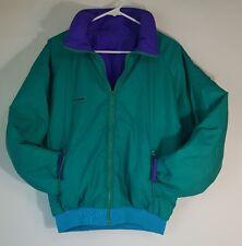 Vintage 80s Columbia Coat Retro Ski Jacket Reversible Mens Medium Teal Purple