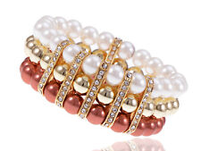Frost Opaque Bronze & Gold Pearl Beaded Crystal Sparkle Glam Accented Bracelet