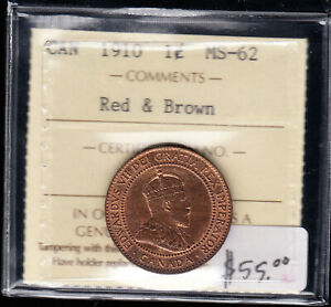 1910 Canada - Large Cent Coin - ICCS Graded MS-62 - CB08