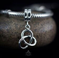Genuine SOLID 925 Sterling Silver dangle charm bead trinity celtic fits bracelet