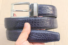 Dark Blue Genuine Alligator Crocodile Leather Skin Men's Belt