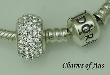 925 Sterling Silver Clear CZ Crusted Charm.  Stunning Christmas present.
