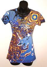 CHRISTIAN AUDIGIER Ed Hardy T-SHIRT Shirt Top Tee Blue Panther Gold Crown SMALL