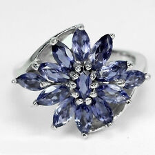 Sterling Silver 925 Genuine Natural Iolite Marquise Cluster Ring Size N.5 (US 7)
