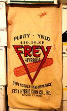 Lot of 5 FREY HYBRID SEED CORN SACKS with ear of corn, GILMAN, ILLINOIS IL