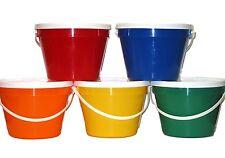 5- 1 Gallon Plastic Buckets Lids 1 ea Red Orange Green Blue Yellow Made in USA