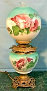 Antique Gone with the Wind Oil Kerosene Lamp Beautiful Flower Decorations 1890s