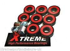*8 Pack ABEC 5 CLASSIC RED HIGH PERFORMANCE BEARINGS + 4 FREE SPACERS SKATEBOARD