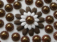 "100! Marrón Chocolate Perla Flor flatback Adornos - 12mm/0.4 """