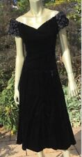 sz 14 VTG Black Velvet Off the Shoulder Dress Gothic SteamPunk Wicca  Moda USA