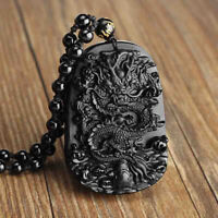 Natural Obsidian Handmade Carved Dragon Lucky Pendant Beads Necklace Gift #B9