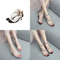 Women Clear Kitten Heel Sandals Rhinestone Ankle Strap EUR Sz 35-40 Casual Shoes