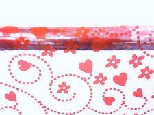 2M X 80CM HEART PATTERN CELLOPHANE WRAP RED SWIRLING HEARTS + FLOWERS