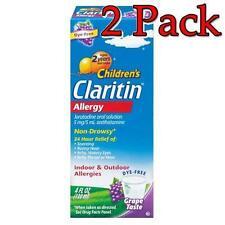 NEW 2 Pack Claritin Children's Allergy Syrup, Grape Taste, 4oz / 120 ML 24 HOUR