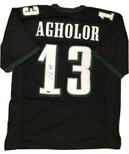 NELSON AGHOLOR EAGLES AUTOGRAPHED SIGNED #13 GREEN BLACK WHITE JERSEY CERTIFIED